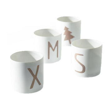 Xmas White Ceramic Votives