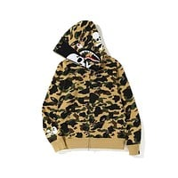 Autumn and winter bape fashion double hat contrast color skull couple jacket hoodies Yellow