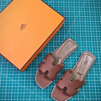 Hermes Oran Sandals With Leather Sole Slip-on Brown - Best Online Sale