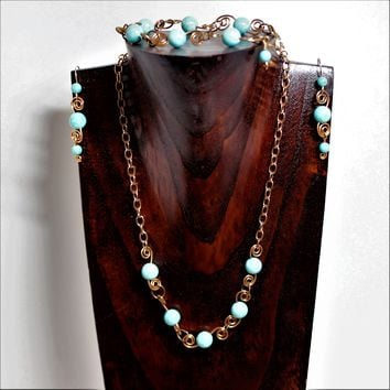 Turquoise Coral Fossil and Copper Necklace, Earrings and Bracelet Set