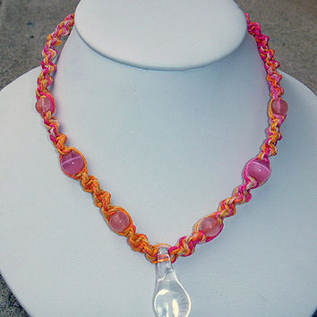 Sherbert Explosion Spiral Hemp Necklace with White Glass  Mushroom Pendant and Beads