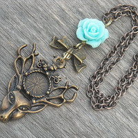 Deer Necklace with Blue Rose and Bow, Deer Head Necklace, Stag Necklace, Antler Necklace, Antiqued Brass, Bronze,