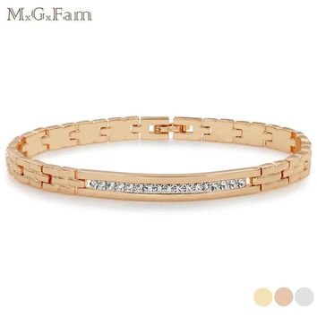 MxGxFam 19.5cm Crystal Watch Bracelet For Men Gold Color Fashion Jewelry Lead and Nickel Free