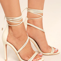Ameerah Nude Lace-Up Heels
