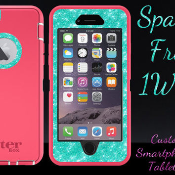"iPhone 6 OTTERBOX Case - Otterbox Defender Glitter Case for 4.7"" iPhone 6 - Pink/Wintermint Glitter Sparkly Cute New iPhone 6 Protector"