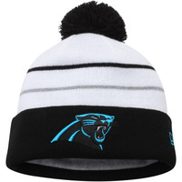 Carolina Panthers New Era Thanksgiving Fan Cuffed Knit Hat – White