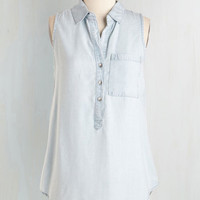 Vintage Inspired Mid-length Sleeveless Button Down Admission is Carefree Top by ModCloth