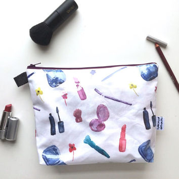 Watercolor Makeup Divided Flat Bottom Pouch Medium (handmade philosophy's pattern)
