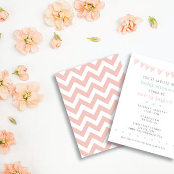 It's a Girl Invitation / Chevron Light Pink, Mint, Grey / Digital Printable / Modern Invites / Dainty Baby Shower Invitations