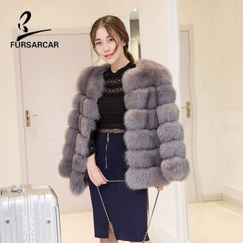 FURSARCAR Real Fur Coat 100% Real Fox Fur Coat Overcoat Winter Warm Genuine Leather Fur Jacket Short Style Women Jacket Coat