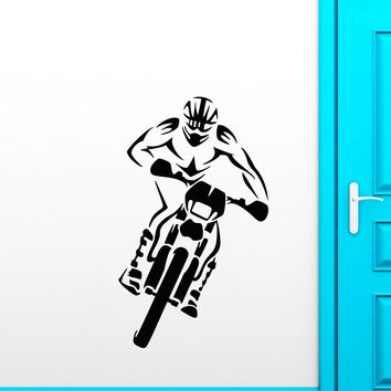 Vinyl Wall Decal Motocross Motorcycle Racing Driver Extreme Sport Stickers (2437ig)