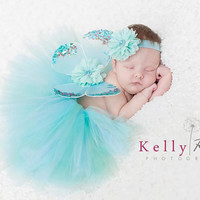 Newborn tutu butterfly wings headband set vintage ocean baby girls aqua blue sage flowers