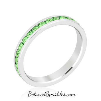 Gail Peridot Green Eternity Stackable Wedding Ring | 1 Carat | Crystal