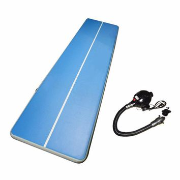 Soft Inflatable Gym Mat Air Floor Tumbling Track Gymnastics Cheerleading Mat Trick Pad For Taekwondo Gym Sports Electric Pump