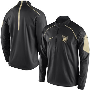 Men's Nike Black Army Black Knights 2015 Football Coaches Sideline Quarter-Zip Performance Jacket