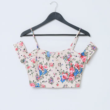 Forever Yong Crop Top - Pink Floral Print