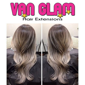 Dark Ash Brown Silver Gray Balayage Halo Flip In Hair Extensions, 100% Cuticle Remy, 20""