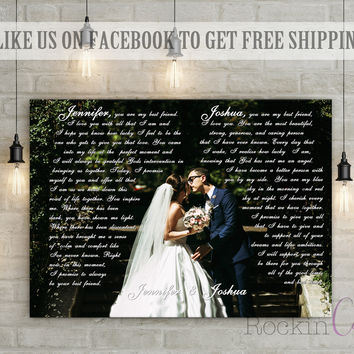 First Dance Lyrics/ Wedding Canvas Photo Decor Words Vows lyrics/ Anniversary or Wedding Art