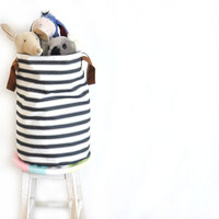 Large Supply Basket, Laundry Hamper, Leather Straps, Toy Basket, Storage Bin, Nursery Organizer, Grey Striped