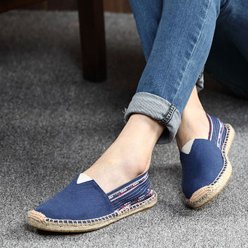 Pure color high quality Mary Jane shoes Linen soles couple shoes casual canvas