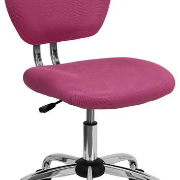 Mid-Back Pink Mesh Padded Swivel Task Office Chair with Chrome Base [H-2376-F-PINK-GG]