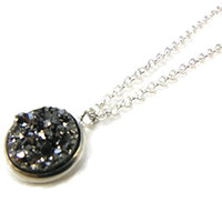 Sparkly Druzy Necklace - Small Pendant Necklace - Gemstone Necklace for Women - Small Necklace - Minimalist Jewelry