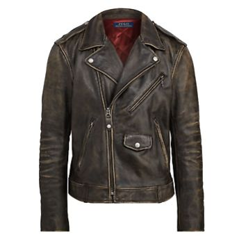 POLO RALPH LAUREN The Iconic Motorcycle Jacket Black Coral Mens Size Large a1
