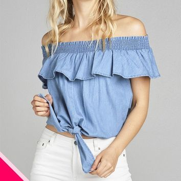 Ladies fashion plus size off the shoulder w/smocked ruffle front self tie chambray top