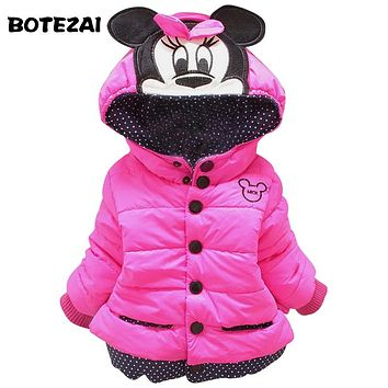 New 2017 baby kids coat for children,children outerwear & coats, girls winter Minnie coat,kids jackets,casual baby clothing