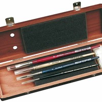 da Vinci Watercolor Series 5280 Deluxe Paint Brush Set, Natural Hair and Synthetic with Mahogany Storage Box and Brush Soap, Multiple Sizes, 4 Brushes (Series 36, 488, 5530, 5880)
