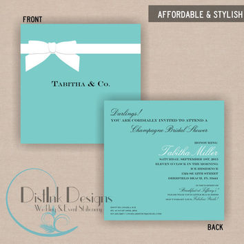 Ribbon Tiffany's Box Inspired Bridal or Baby Shower Invitation Double Sided - Printable CUSTOMIZE the WORDING and COLORS