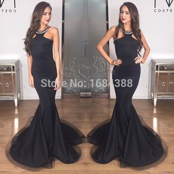 New Arrival Black Mermaid Prom Dress Elegant Halter Sleeveless Beaded Crystal Floor Length Satin Long Prom Dresses 2015