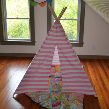 Teepee Play Tent - Children Toddler - BAMBOO Poles Included Pink and White Stripe - 4 panel
