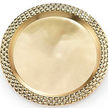 "Helios Brass Round Serving Tray 17""D"