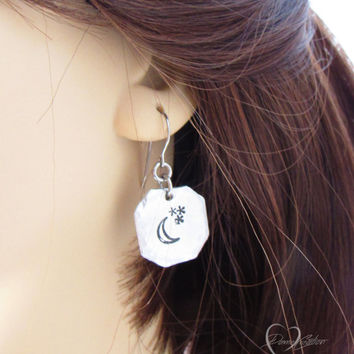 Moon and Stars Earrings - Handstamped Earrings - Moon Earrings - Stars Earrings - Handstamped Jewelry - Gift for Her -