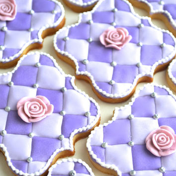 baby shower | wedding Decorated Sugar Tufted Cookies and roses