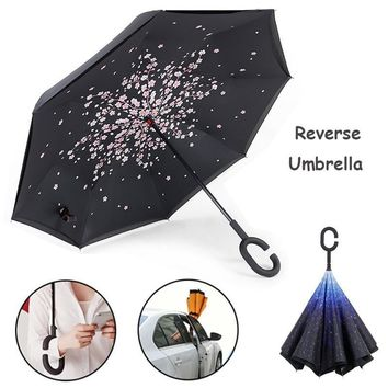 Better Deign Car Convenient Windproof Foldable Reverse Umbrella for Women Rainy Sunny day