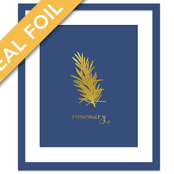 Rosemary Art Print - Gold Foil Print - Food Poster - Gold Foil Kitchen Wall Art - Food Art - Kitchen Art Print - Gift for Chef - Herb Art