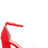 Madden Girl Beella Red Ankle Strap Heels
