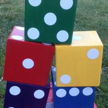 Family or Tailgating Yahtzee.Lawn dice. Yard dice. Wedding, Fun colors
