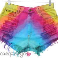 Vintage RAINBOW Ombre Dip Dyed Denim High Waist Cut Off Shorts XL