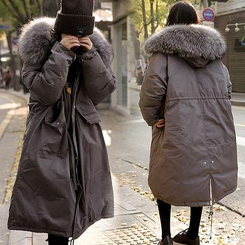 Thick 2017 Winter Jacket Coat Women Fur Collar Down Parka Plus Size Female Long Warm Hooded Snow Wear Cotton-padded Jacket