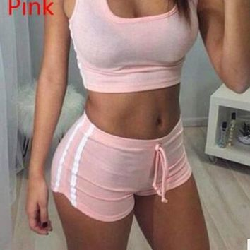 Pure Color Patchwork Crop Top with Shorts Two Pieces Set