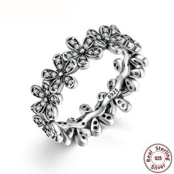 925 Sterling Silver Flowers Stackable Ring