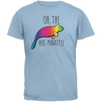 LMFCY8 PAWS - Oh The Hue-Manatee Light Blue Adult T-Shirt