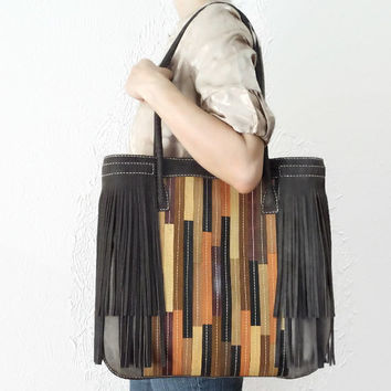 Chocolate Brown Fringed Patchwork Leather and Canvas Tote,  Boho Handbag,  Purse,  Leather Fringe Bag