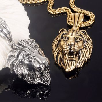 Hip-Hop Jewelry Rocked Lion's Head Pendant Necklace in Stainless Steel