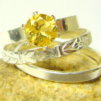 Yellow citrine ring Sterling Silver stacking by WatchMeWorld