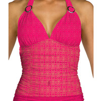 Swim Systems Dreamcatcher Azalea - Shirred Halter Tankini Top