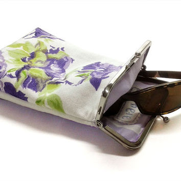 Sunglasses Case Spring Collection - Purple Rose - One-of-A-Kind (OOAK) - cotton canvas - Silver Frame - Ready to ship!